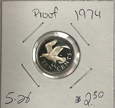 1974 Barbados Proof 10 Cent Dime. Collector Coin For Your Set Or Collection.