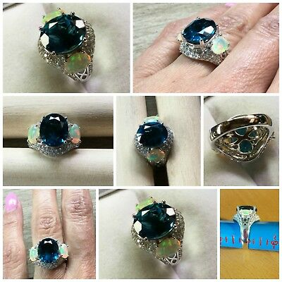 Sterling Silver London Blue Topaz and Opal Ring- BIG and BOLD