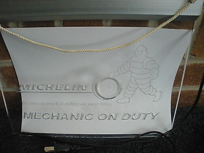 Michelin Tires Sign - Mechanic on Duty - Advertising / Service - Hanging Light