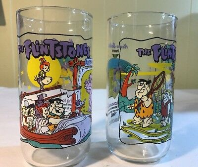 The Flintstones 1991 Hardee's Drinking Glasses The First 30 Years Set of 2 EUC