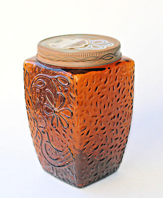 Vintage NESCAFE Coffee AMBER Glass Jar Canister Empoli Embossed Bird & Flower