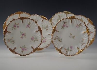 "Antique Laviolette Limoges Set Of 6 Plates 7"" Roses And Heavy Gold"