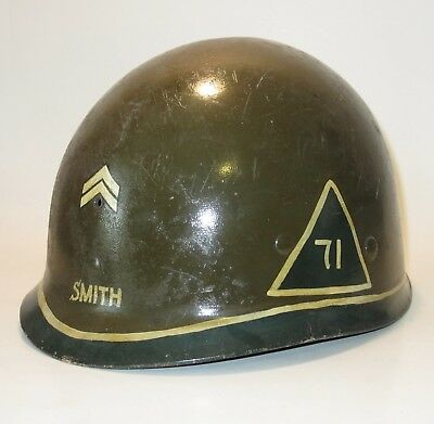 NAMED Corporal Original WWII US Military Seaman M1 helmet liner