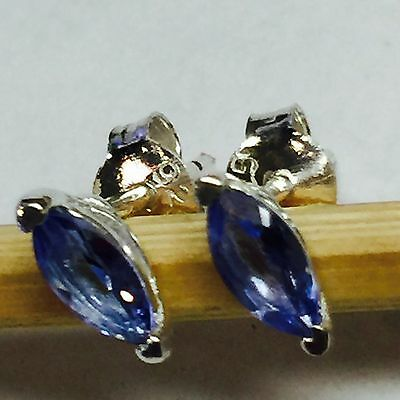 Natural 1ct  Tanzanite 925 Solid Sterling Silver Stud Marquise Earrings 6mm