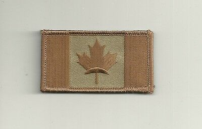 CANADIAN FLAG EMBROIDERED PATCH CAMO BROWN TAN  w/ VELCRO Fastener