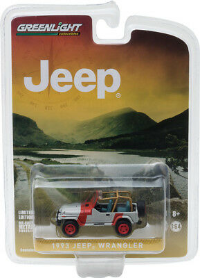 Greenlight 1/64 1993 Jeep Wrangler YJ - Red & Grey - Hobby Exclusive - 29856