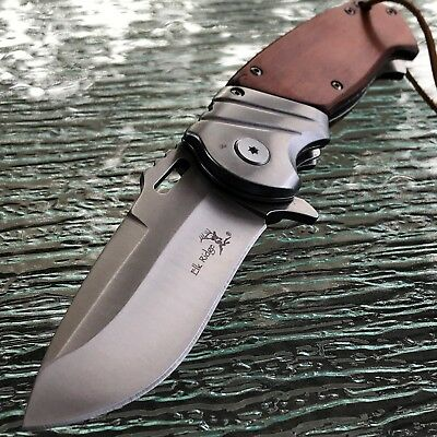 ELK RIDGE WOOD ASSISTED OPEN TACTICAL FOLDING POCKET KNIFE w/ LEATHER LANYARD 9""