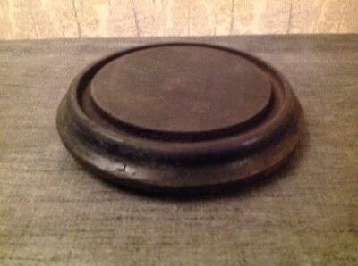 Antique Clock Dome Base Ebonised Wood Suit Glass 120-133mm Diameter 30mm High