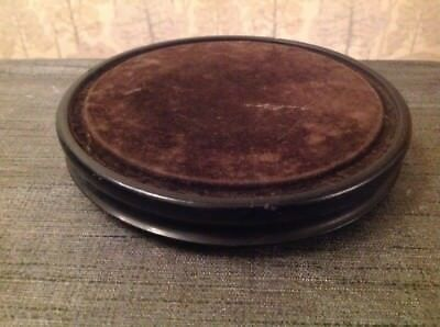 Antique Clock Dome Base Velvet Ebonised Wood Suit Glass 155mm Diam. 30mm High