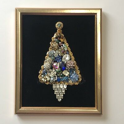 Vintage Jewelry Christmas Tree One Of A Kind Framed