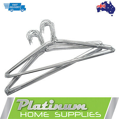 Silver Metal Wire 50 pcs Clothes Coat hangers Garment Shirt Wardrobe Bulk Suit