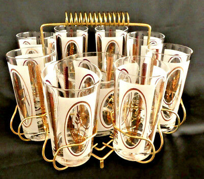 Mid-Century Golden Wheat Cocktail Set of 8 Highball Glasses, Ice Bucket & Caddy