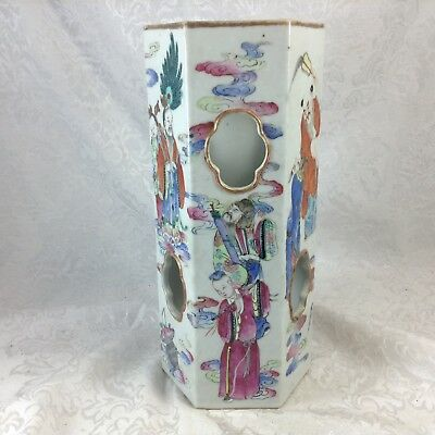 Antique Chinese Famille Rose Geometric 6-Sided Hat Stand Vase Figural Deities