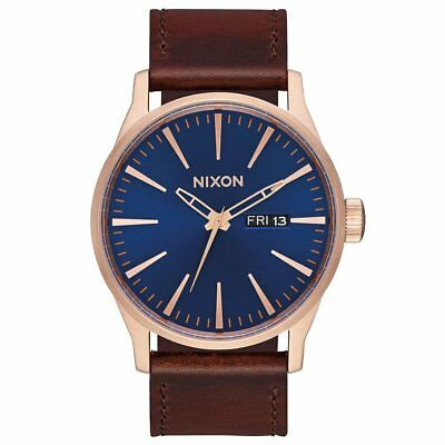 Nixon Sentry Leather Homme Montre - Rose Gold Navy Brown Une Taille