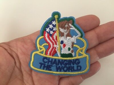 Changing the world Embroidered patch, changing the World Iron On Patch, Changing