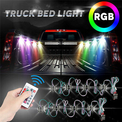 Universal 8pc 48LED RGB Truck Bed Lighting Under Body Atmosphere Light RF Remote