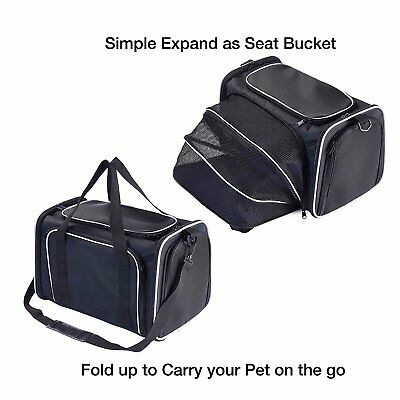 L-S Expandable Pet Travel Carrier Handbag Kennel Black&Grey Cat Dog Shoulder Bag