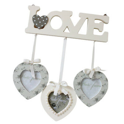 New Wooden Hanging Heart Shaped Large Photo Frame Multi Picture Love