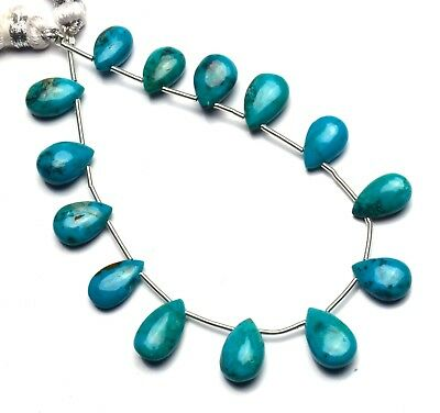 Natural Gemstone Chrysocolla Smooth Pear Shape Briolette Beads 7 Inches Strand