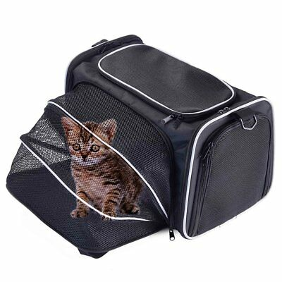Black&Grey Expandable Pet Travel Carrier Crate Kennel Cat Dog+Mat+Safety Leash