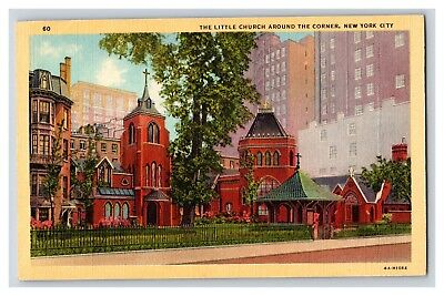 The Little Church Around The Corner New York City Linen 1940's Postcard B16