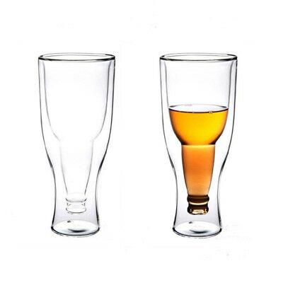 350ml Creative Bottle Shaped Double Glass Beer Wine Drinking Cup Upside Down