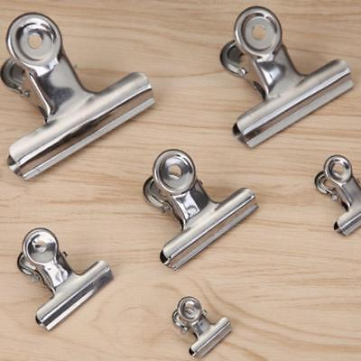 School Home Office Metal Spring Loaded File Paper Clamp Bulldog Clip Silver 3x;