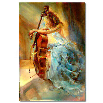 90x60cm Abstract Violin Girl Canvas Print Oil Painting Picture Art Home Decor