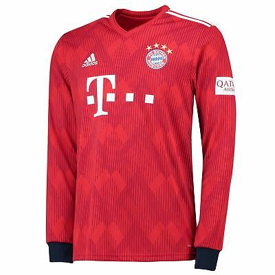 Official Bayern Munich Football Home Jersey Shirt 2018-19 Long Sleeve Tee Mens