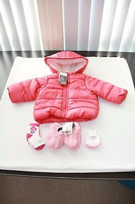 Pumpkin Patch Red Puffer Jacket 3-6 months, Socks, Mittens, Furry Booties BNWT