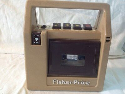 Fisher Price Tape Deck Beige Brown Vintage 826 Record Works W/Timing Off At Time