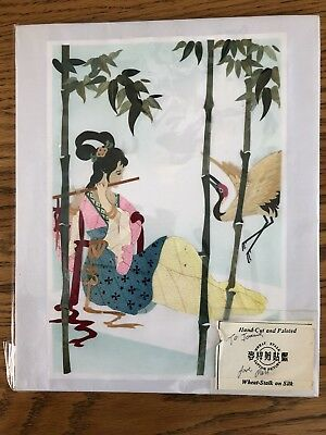 VTG Wheat Stalk Cutting Pictures Hand Cut And Painted On Silk Asian Art