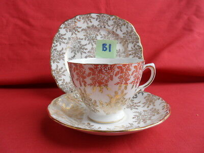 Royal Vale, Gold Chintz/Filigree design Tea Trio REDUCED!