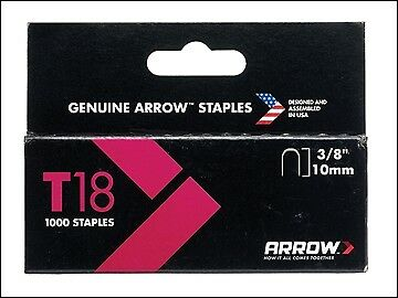 Arrow T18 Staples 10mm (3/8in) Box 1000 ARRT1838S