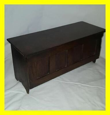 Rare Late 18Th Century Oak Candle Box In The Form Of A Miniature Period Coffer