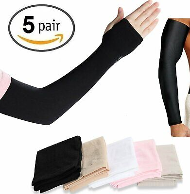 5 Pairs Cooling Arm Sleeves Cover UV Sun Protection Outdoor Sports COOL