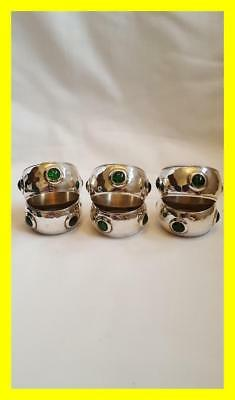 Arts & Crafts Circa 1920 Set Of Six Silver Plated Napkin Rings Inset Cabochons