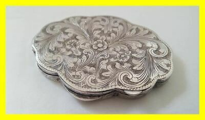 Circa 1900 High Quality 800 Grade Silver Engraved Large Compact.