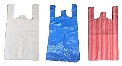 Plastic Vest Carrier Bags Blue White Black Or Green All Sizes - Superstores