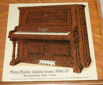1904 Antique COLOR Print///WING PIANO CONCERT GRAND STYLE 29, QUARTERED OAK CASE