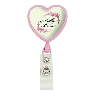 Wedding Floral Mother of the Bride Heart Lanyard Reel Badge ID Card Holder