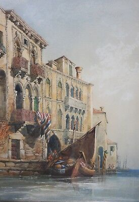 Original Antique Signed Watercolor Painting-Illegibly Signed-Venice Canal Scene