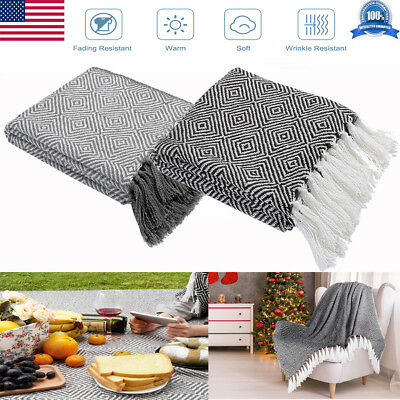 """Mutifunction 50"""" x 60"""" Knitted Soft Warm Throw Blankets Sleeves with Tassels"""