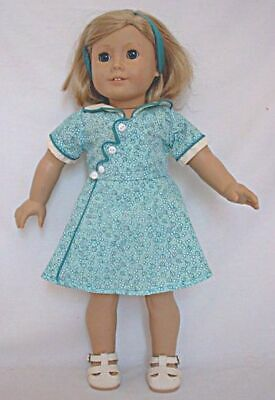 """Birthday Dress For Kit Green White 18"""" American Girl Doll Clothes Reproduction"""
