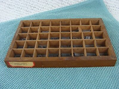 Antique Wood Printer's Typeset Tray Drawer Shadow Box & Type Unusual Small Size