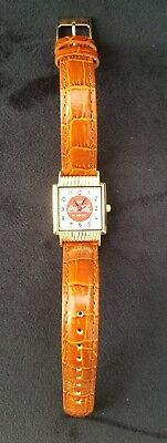 Coca Cola Ladies Watch Coke Japan Movement Gold Tone Bezel Leather Band