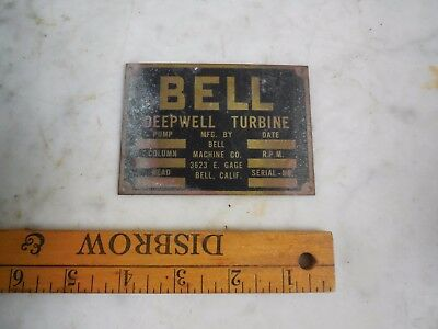 Vtg Antique Brass BELL Deepwell Pump Turbine Motor Engine Industrial Pump Plate