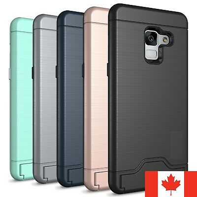 For Samsung Galaxy A8 2018 Case Shockproof KickStand Card Slot Wallet Hard Cover