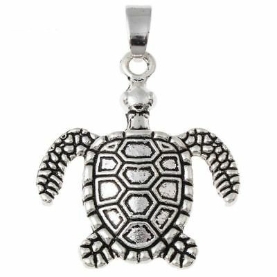 VERY NICE 20PC LOT OF INTRICATE DETAILED Antique Silver Color Turtle Charm Penda