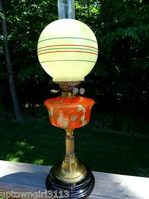 "ANTIQUE OIL LAMP 1800s VICTORIAN art glass 24"" Twin Duplex ENGLAND double wick"